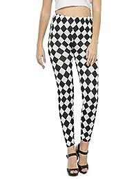 N-Gal Women 's Gorgeous Black And White Print Leggings-NJ2319-Black-White