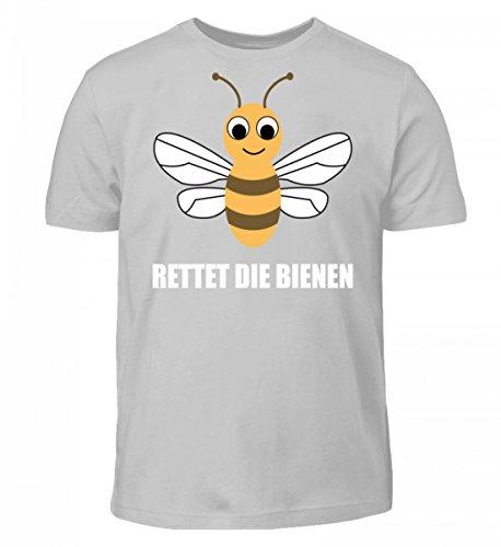 Shirtee Hochwertiges Kinder T-Shirt - Rettet Die Bienen Pazifik Grau