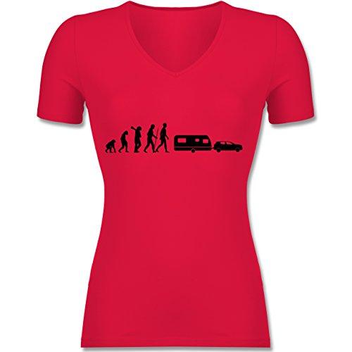 Evolution - Evolution Wohnwagen - Tailliertes T-Shirt mit V-Ausschnitt für Frauen Rot