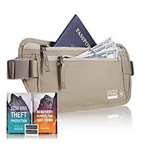 Peak Travel Money Belt with built-in RFID Block - Includes Theft Protection and Global Recovery Tags