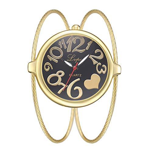 Damenuhren Arabische Zahlenskala Großes Zifferblatt Armband Uhren für Damen Edelstahl Kettenband Mode Interessante, Gold-Schwarz