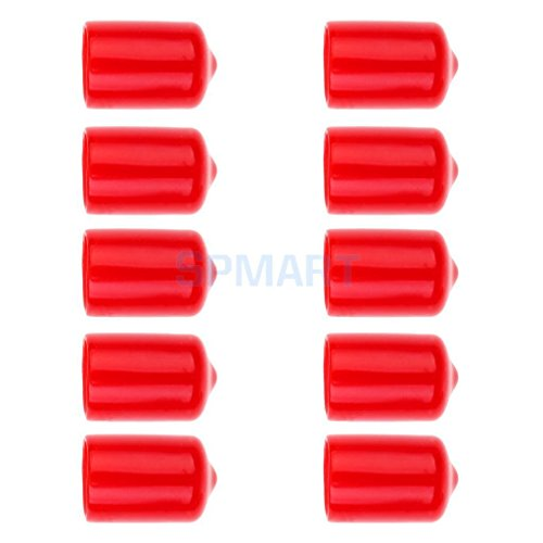 ELECTROPRIME 10 Pieces Pool Cue Tip Rubber Protector Pool Cue Head Cover Red