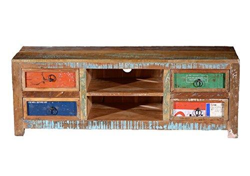 Shabby chic TV Sideboard MINNESOTA Teakholz massiv 4 Schubladen | Vintage Lowboard | Indische Möbel TV Board Altholz Teak | Breite: 140 cm x Tiefe: 45 cm x Höhe: 50 cm