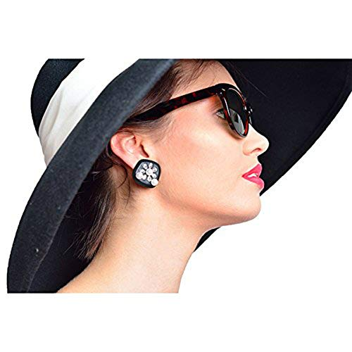Audrey Hepburn-The Breakfast at Tiffany's Kostüm Schwarze Ohrringe & Katzenäugchen Schildpatt Sonnenbrille Zubehör Set