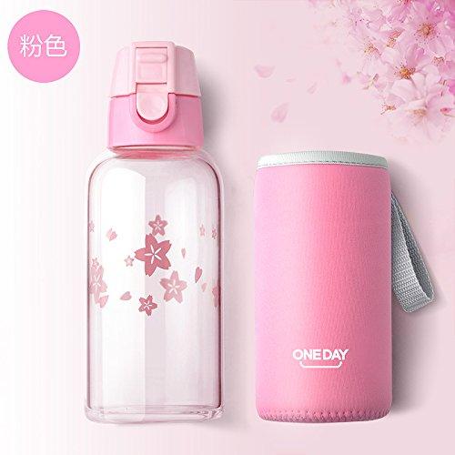 Glas Wasser Flasche Mit Schutz Tasche 350ml My Wasser trinken für Flasche auslaufsicher Glas Teekanne Sport Reise Tragbare Flaschen rose