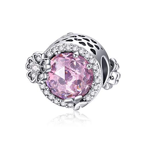 Charm-Perlen für Schlangenkette, Armband und Halskette, 925 Sterlingsilber, rosa Zirkonia