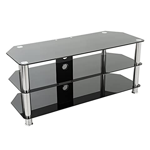 Gloss Black Glass TV Stand for LED, LCD, Plasma, Curved