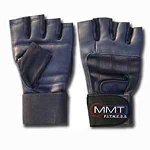 LEATHER WEIGHT LIFTING GLOVES WRIST SUPPORT (S/M, BLACK)