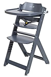 Safety 1st Timba Mitwachsender Hochstuhl, abnehmbares Tischchen, aus massivem Buchenholz, hohe Rückenlehne, ab ca. 6 Monate bis ca. 10 Jahre, max. 30 kg, grau