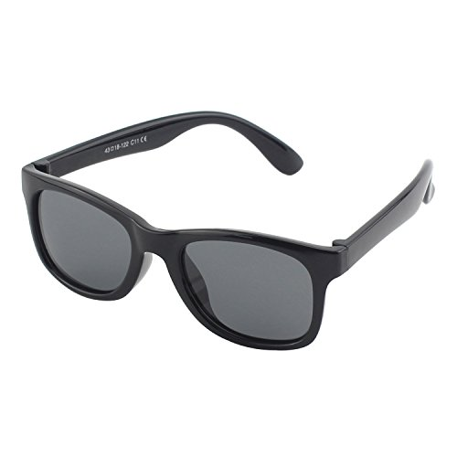 CGID caoutchouc flexible enfants wayfarer lunettes de soleil polarisées pour bébé et enfants 3-10 ans, K25 Mat Noir Noir
