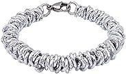 ParticolarModa Bracciale stile lucido diamantato martellato nodini intrecciato per donna in alluminio e acciai