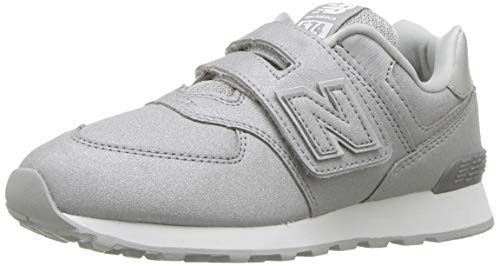 New Balance Girls' 574v1 Hook Loop Sneaker, Silver, 13 W US Little Kid (New Balance-13w)