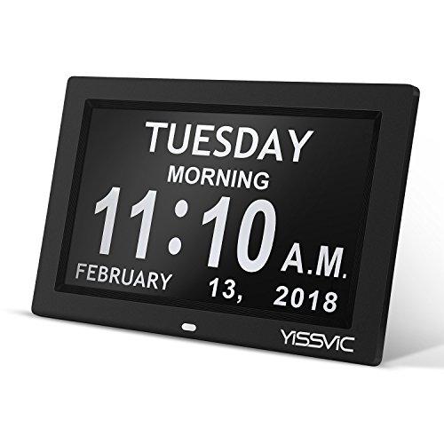 vic Wanduhr mit Digitalkalender Elektronische Standuhr mit großem nicht abgekürztem Tag Monat für Senioren Alzheimer Patienten 8 Zoll Schwarz (Bild Einen Tag Kalender)