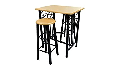 Beech Bar Stools Pair and Standing Table / Bar Table - inexpensive UK bar stool store.
