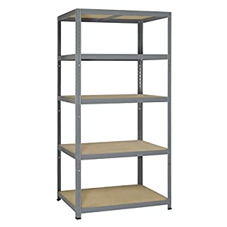 Avasco 265 Strong Shelf Adaptable/Heavy Load, Metal/Wood with 5 Shelves/Light Galvanised, Clear, 5400431647204