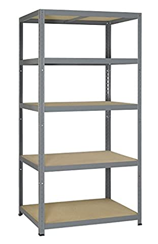 265 strong shelf in wood/metal - heavy load - 5 snap-on shelves 180 x 90 x 50 cm galvanised
