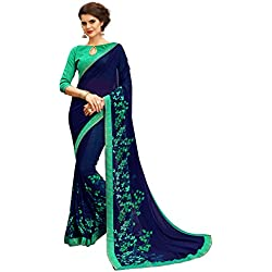 Tagline Women's Clothing Saree Collection in Multi-Coloured Georgette Material For Women Party Wear,Wedding,Casual sarees Offer Latest Design Wear Sarees With Blouse Piece (BLUE)18157