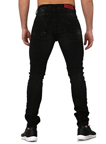 Baxmen Homme destroyed jeans BRANDON Mince Fit Section Millésime Regardez avec Code postal et Details Noir