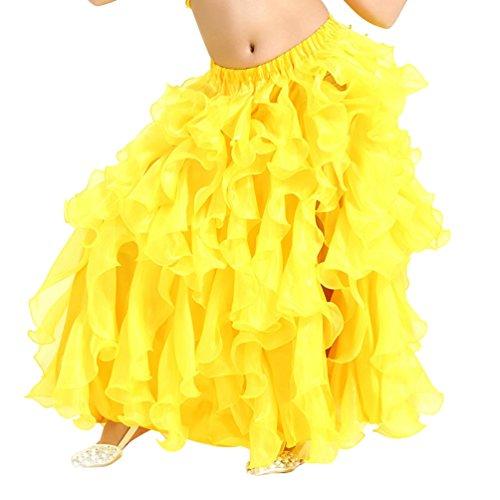 (Xinwcang Mädchens Bauchtanz Rock Dance Kleidung Kleid Tanzkostüme Halloween Karneval Kostüme Gelb S)