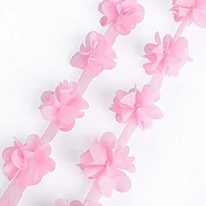3D Ruban en tissu Fleur pétals Dentelle rose mousseline tulle 2 yards 182cm