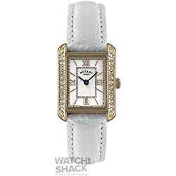 LS02652/41 Rotary Ladies White Leather Strap Rose Gold Plated Stone Set Watch