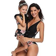 Zarupeng 2019 Madre e Hija Traje De Baño Mujer Niña Volantes Imprimen Bañador de