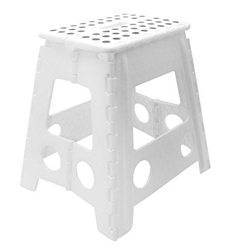 Zollner Tritthocker zusammenklappbar, Weiß Höhe ca. 39 cm (weitere Farben und Höhen verfügbar), Serie Flip