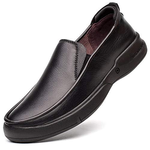 Herren Bestseller Oxford Schuhe Freizeit Driving Loafers for Männer Flache Oxfords Penny Schuhe Slip-on Stitch Runde Kappe Elastische Gummi-Sohle Aus Echtem Leder Rutschfeste Bootsschuhe Kleid Oxford (Leder-gummi-sohle-kappe)