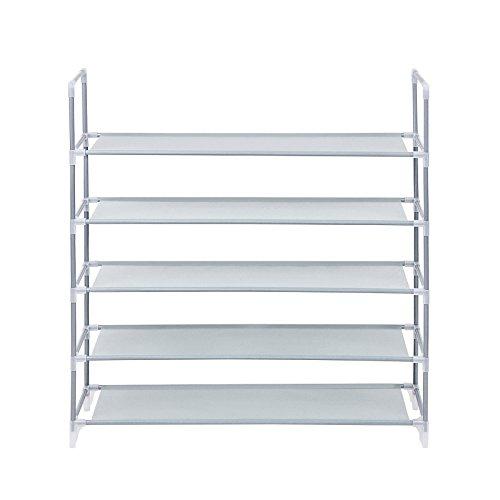 Songmics scarpiera scaffale a 5 ripiani, capacità fino a 25 paia di scarpe, scaffali portascarpe cabina guardaroba in acciaio tessuto grigio 88 x 28 x 91 cm lsr05g