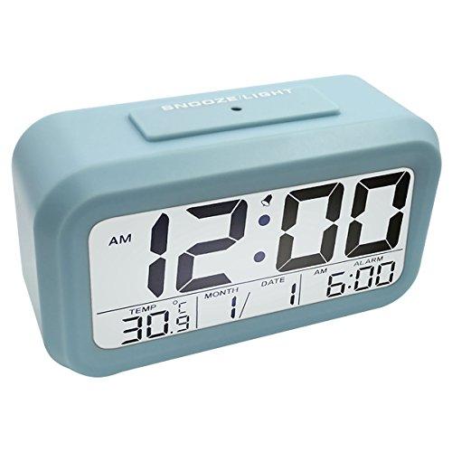 EASEHOME Reloj Despertador Digital, Relojes Despertadores Digitales Alarma Despertador con Calendario Temperatura Snooze Reloj Alarma Despertador Pilas para Niños Adultos Luz Nocturna, Azul