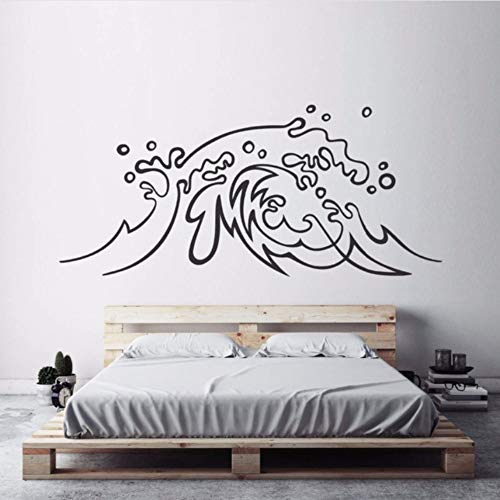 ttoo 57X26 Cm Nautical Design Ocean Wave Vinyl Wandtattoo Surf Art Home Schlafzimmer Dekor Strand Thema Meereswellen Wandmalereien A ()