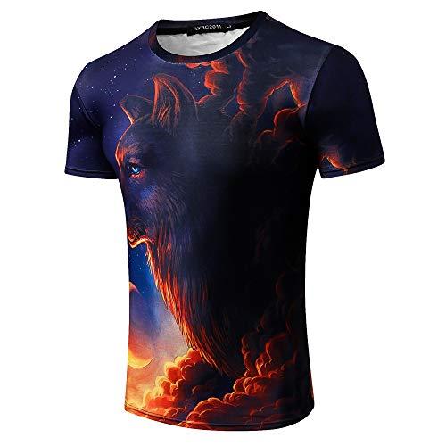 Herren T-Shirt Druck Kurzarm Shirt Manschette Basic,3D Fox Rollkragen Casual Kurzarm T-Shirt 2 L