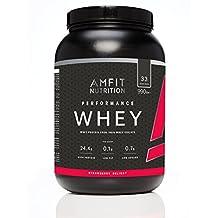 Marca Amazon - Amfit Nutrition Performance Proteína Whey de suero de leche (100% aislados de suero de leche), sabor fresa, 33 porciones 990 g