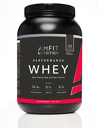 Amazon-Marke: Amfit Nutrition Performance Whey Protein Isolate Eiweißpulver (100% Molkenisolate) mit Erdbeergeschmack, 33 Portionen, 990 g