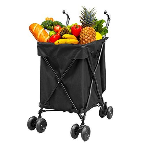 QNJM 82L Große Kapazität Einkaufswagen - Home Multifunktions-Universal-Rad Faltender Outdoor-Kinderwagen, Camper Storage Folding Cart (Farbe : Schwarz) -