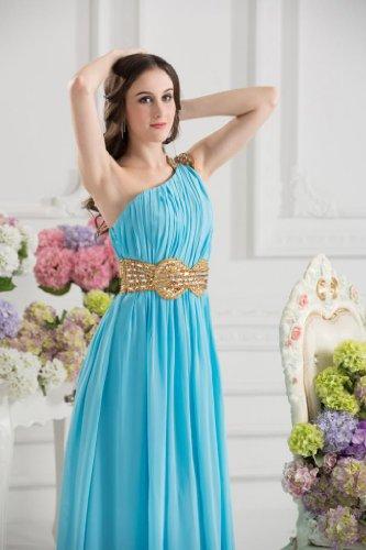 GEORGE BRIDE Ein-Schulter Abend-Kleid mit charmanten wulstiger Schaerpe Licht Himmel blau