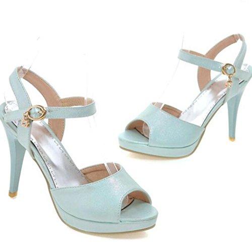 W&LM Signorina Tacchi alti sandali Bocca di pesce Ok Piattaforma impermeabile Bocca poco profonda sandali Blue