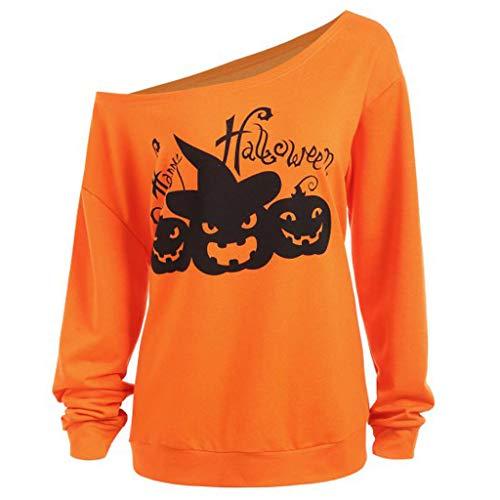 Iwähle ♥ Frauen Casual Plus Size Halloween Print Schrägkragen Langarm Sweatshirt Tops - 70er Jahre Kostüm Zum Verkauf