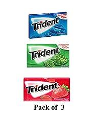 Trident Gum 14 Sticks Chewing Gum Spearmint + Strawbetty Twist + Original Flavor Imported Chewing Gum - Pack of 3 - Shipping Free