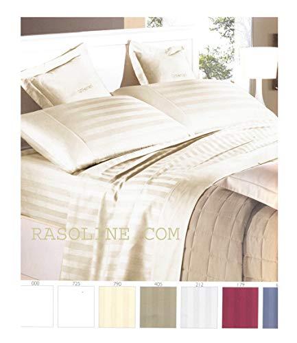 Completo lenzuola matrimoniale in raso di puro cotone rigato colore avorio panna riga 2,5 cm (lenzuolo sopra 260x290, lenzuolo sotto angoli 180x200, federe 52x82)