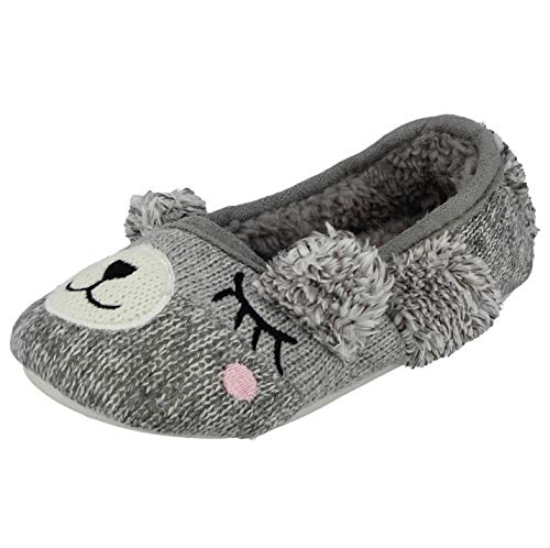 Ladies Girls Fleece Furry Rabbit Bunny Sleepy Bear Animal Novelty Plush Slip On Backless Mule Slippers Size 3-7