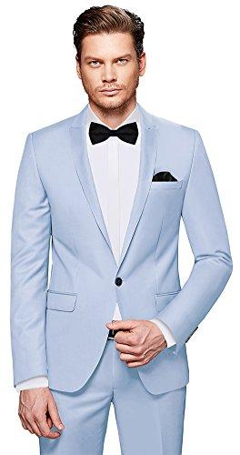 CRIXUS Herren Anzug Fine Satin - 7 teilig - Hell Blau Smoking Hochzeit Feier Business CS_4 (102)