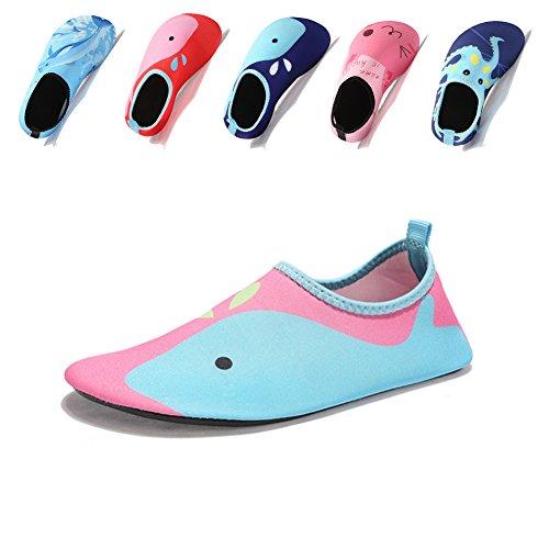 Laiwodun Kleinkind schuhe schwimmen Wasser Schuhe Mädchen Barefoot Aqua Schuhe für Beach Pool Surfen Yoga Unisex (4-34-35) Mädchen Flip-flops Für Den Pool