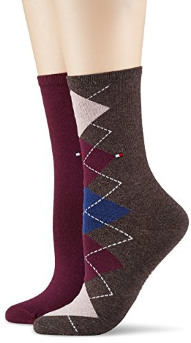 Tommy Hilfiger Damen TH Women Twisted Argyle Sock 2P, 2er Pack, Mehrfarbig (Silver Pink 361), 39/42 (Argyle-socken 2)