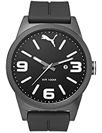 PUMA Cat Instinct Men's Quartz Watch with Black Dial Analogue Display and Black Plastic Strap PU104091002