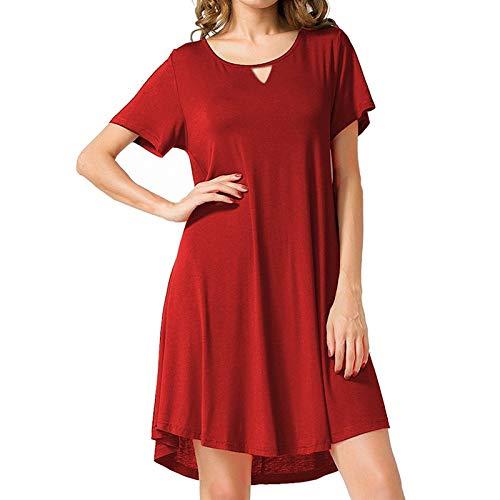 Lilicat estivo vestiti da donna rotondo collo abiti al ginocchio da partito elegante abito a tubino moda mini vestito di colore solido abito casual a maniche corte minimalista (rosso 2,s)