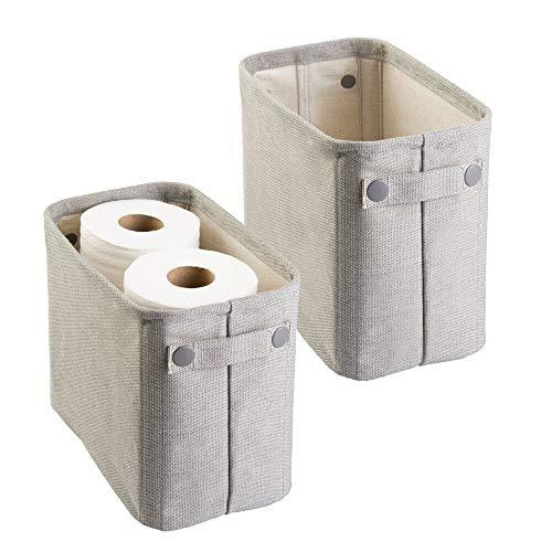 mDesign 2er-Set Zeitungskorb fürs Bad - stilvolle Toilettenpapier Aufbewahrung aus Baumwolle - praktischer Aufbewahrungskorb für Magazine, Handtücher etc. - hellgrau