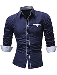 BUSIM Men's Long Sleeve Shirt Fashion Solid Color Casual Slim Under Lapel Button T-Shirt Top Loose Breathable...