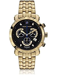 Chrono Diamond 82130_schwarz-41 mm - Reloj para hombres, correa de metal color dorado