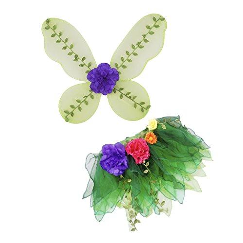 Prinzessin Kostüm Fairy Kinder - Homyl Prinzessin Fairy Kostüm Schmetterling Kostüm Mädchen Party Verkleiden Zu Geburtstag Cosplay Kostüm Flügel + Tüllrock mit Blumen Quaste Deko - Grün